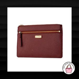 KATE SPADE NEW YORK MAROON TEXTURED LEATHER CLUTCH